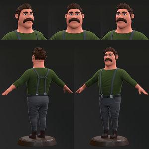 man cartoon 3D model