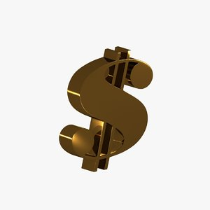 3D dollar symbol modeled