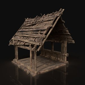 wooden roofing cover construction 3D