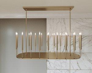 quenouilles linear chandelier 3D
