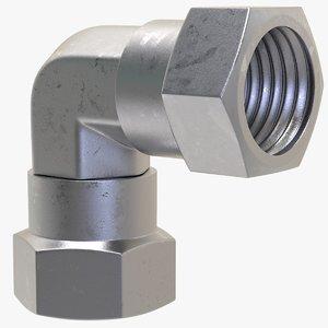 3D gas connection elbow female model