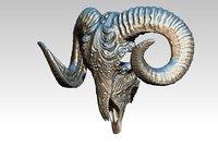 Ram carved pattern skull highpoly STL model