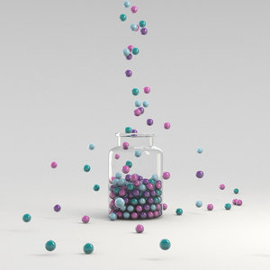 marble balls filling glass 3D model