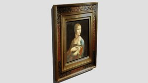 painting lady ermine leonardo da 3D model
