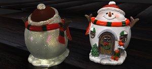 3D noel snowman house 2020 model