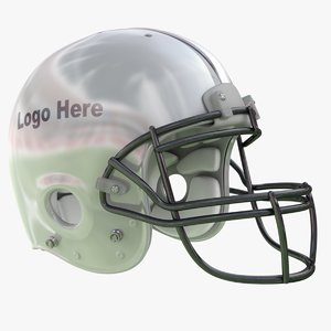 3D silver football helmet model