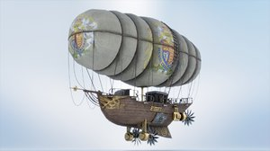 3D airship ship punk model