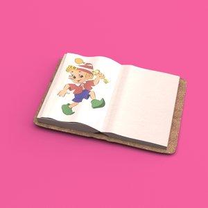 3D classic book open model