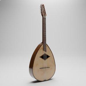 3D model traditional musical instrument mandola