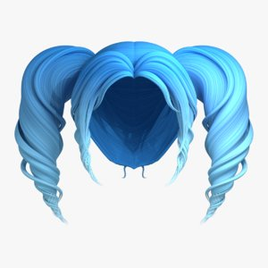 3D wigs curly pigtails hair model