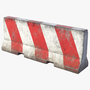 3D model pbr concrete barrier