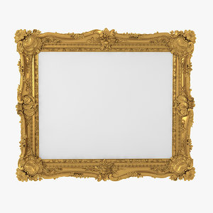 realistic baroque picture frame 3D model