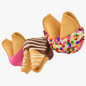3D sprinkle dipped fortune cookies model