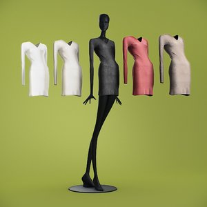 long dresses cloth mannequin 3D
