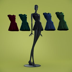 dresses cloth mannequin 3D model