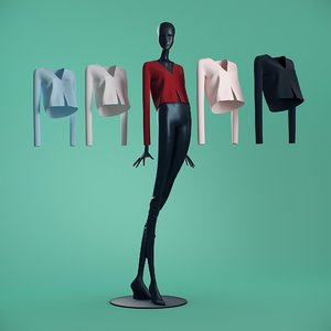 t-shirts cloth mannequin 3D model