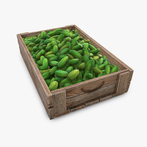 market wooden box 3D model