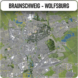 3D model braunschweig - wolfsburg surrounding