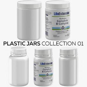 3D plastic jars 01 model