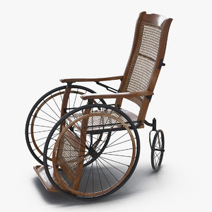3D vintage wheelchair rigged