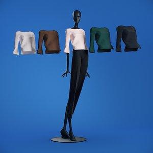 blouses cloth mannequin 3D
