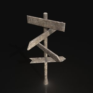 3D model customizable wooden road sign
