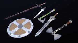 weapons middle ages 3D model