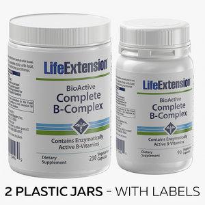 3D 2 plastic jars -