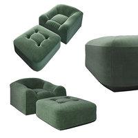 Maxence armchair and ottoman