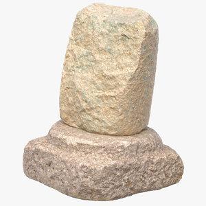 3D ancient pillar 03 model