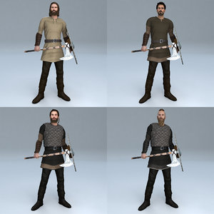 3D model pack rigged viking