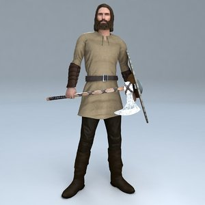 3D rigged viking model