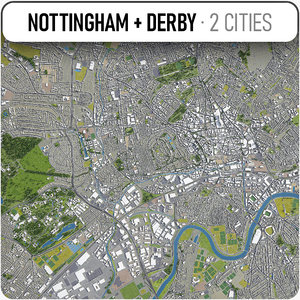 3D nottingham - derby surrounding