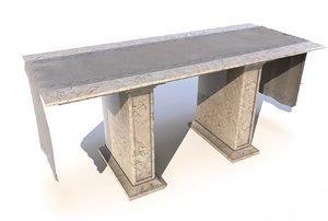 3D model modern church altar marble