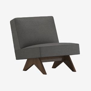 3D pierre jeanneret lounge chair model