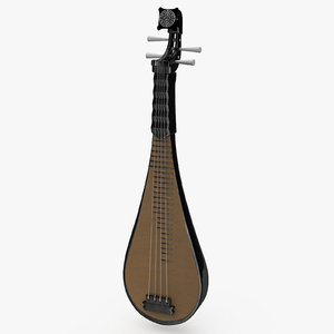four-stringed chinese musical instrument 3D model