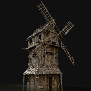 aaa wooden windmill building model