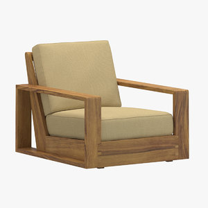3D poolside lounge chair model