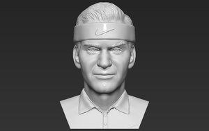 3D model roger federer bust printing