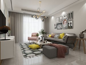 3D living room dining sink