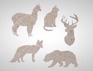 3D model lama fractured animals