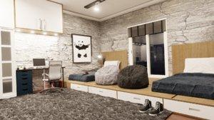 bedroom room ikea furniture 3D
