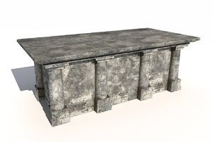 3D old stone altar