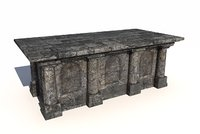 3D old stone altar model