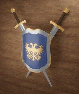 3D medieval shield eagle printable