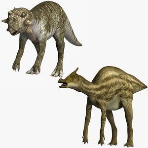 3D psittacosaurus saurolophus