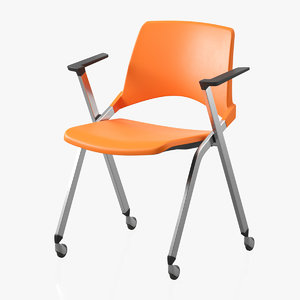 realistic office plastic chair 3D model