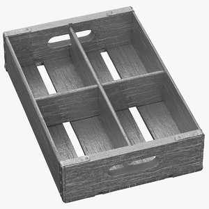 3D vintage fruit crate silver