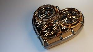 3D heart metal steel model