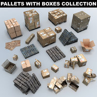 3D wooden pallets boxes